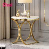 میز عسلی استیل طلایی و سفید